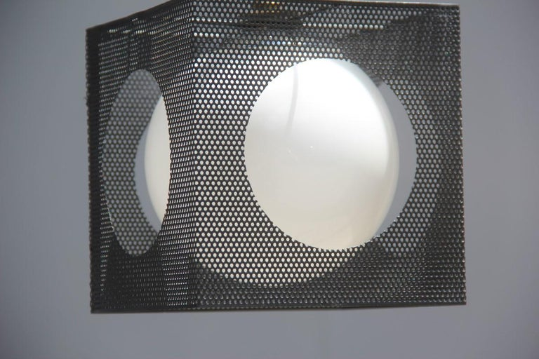 Mid-20th Century Perforated Metal Black White Ceiling Lamp Mid-Century Italian Design 1950s Brass For Sale