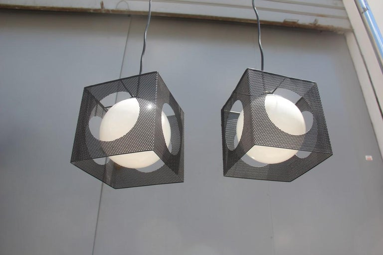Perforated Metal Black White Ceiling Lamp Mid-Century Italian Design 1950s Brass For Sale 1