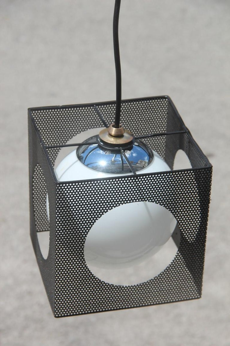 Perforated Metal Black White Ceiling Lamp Mid-Century Italian Design 1950s Brass For Sale 2