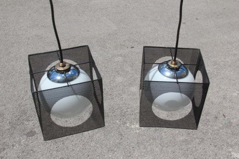 Perforated Metal Black White Ceiling Lamp Mid-Century Italian Design 1950s Brass For Sale 3