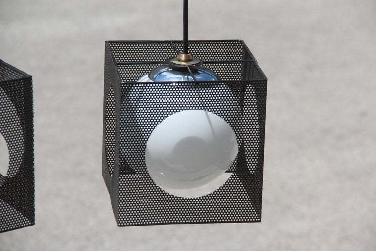 Perforated Metal Black White Ceiling Lamp Mid-Century Italian Design 1950s Brass For Sale 4