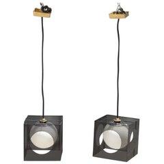 Perforated Metal Black White Ceiling Lamp Midcentury Italian Design 1950s Brass