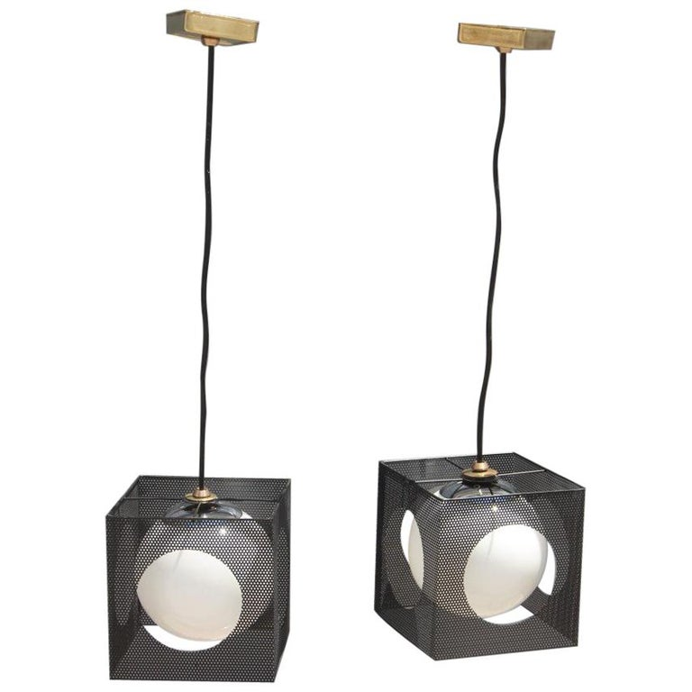 Perforated Metal Black White Ceiling Lamp Mid-Century Italian Design 1950s Brass For Sale