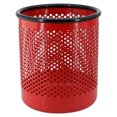 Perforated Metal Office Wastebasket Trash Can Italy Memphis Sottsass Ferrari