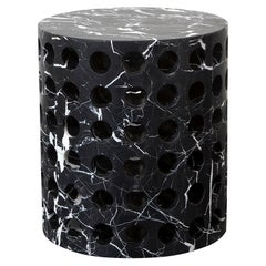 Perforated Nero Marquina Marble Side Table by Kelly Wearstler