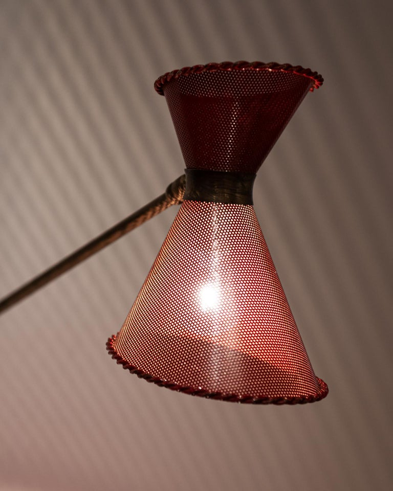 Mid-Century Modern Perforated Sconce Attributed to Mathieu Matégot, France, 1950s For Sale