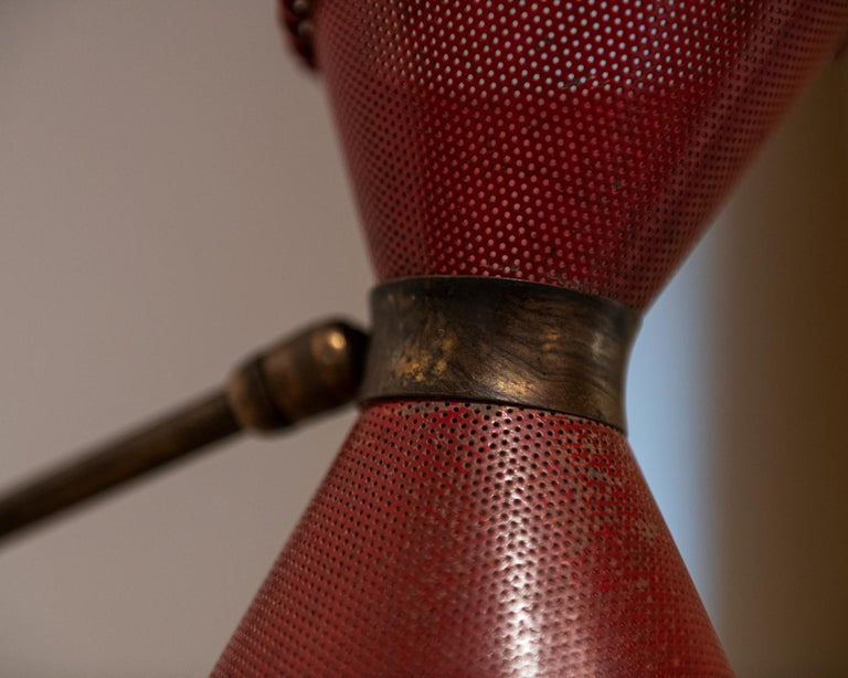 French Perforated Sconce Attributed to Mathieu Matégot, France, 1950s For Sale