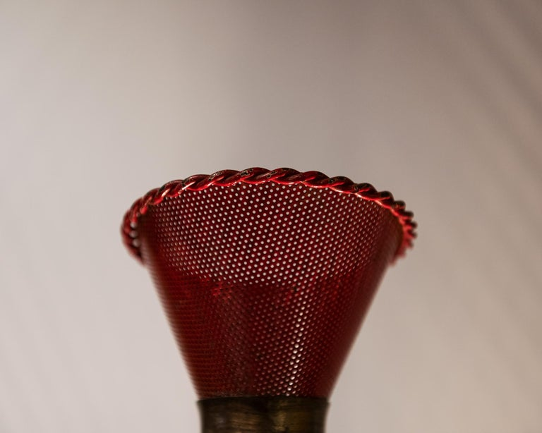 Mid-20th Century Perforated Sconce Attributed to Mathieu Matégot, France, 1950s For Sale