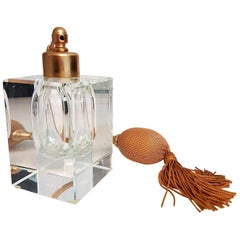 Perfume Bottle Gilt Brass and Glass by Moser