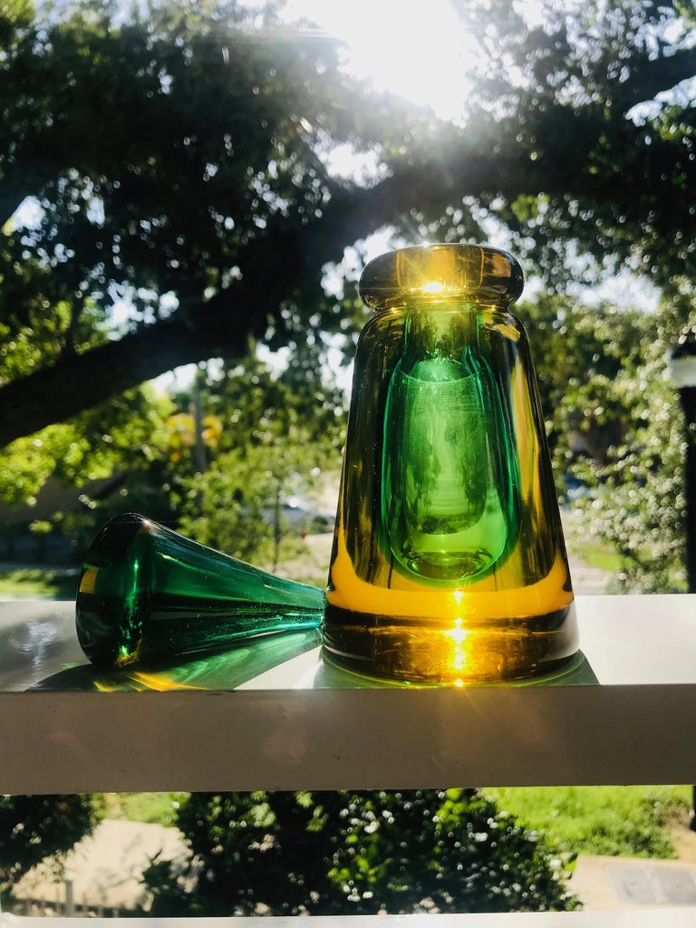 Mid-Century Modern Perfume Bottle in Green and Yellow Murano Glass by Flavio Poli, c. 1960's For Sale