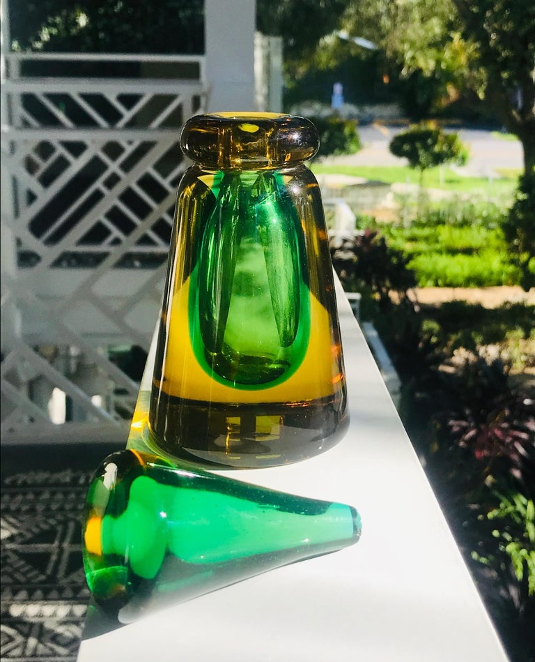 Perfume Bottle in Green and Yellow Murano Glass by Flavio Poli, c. 1960's For Sale 2