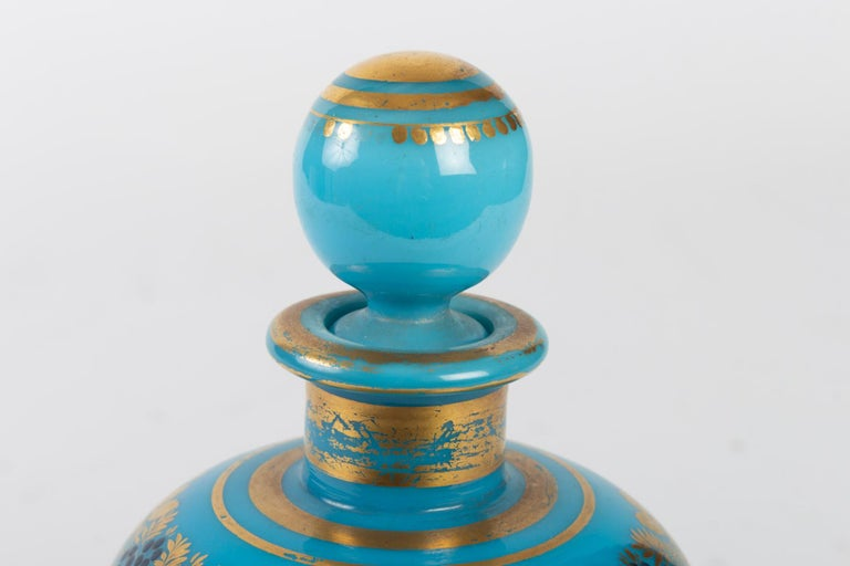 Charles X Perfume Bottle in Turquoise Blue Opaline For Sale