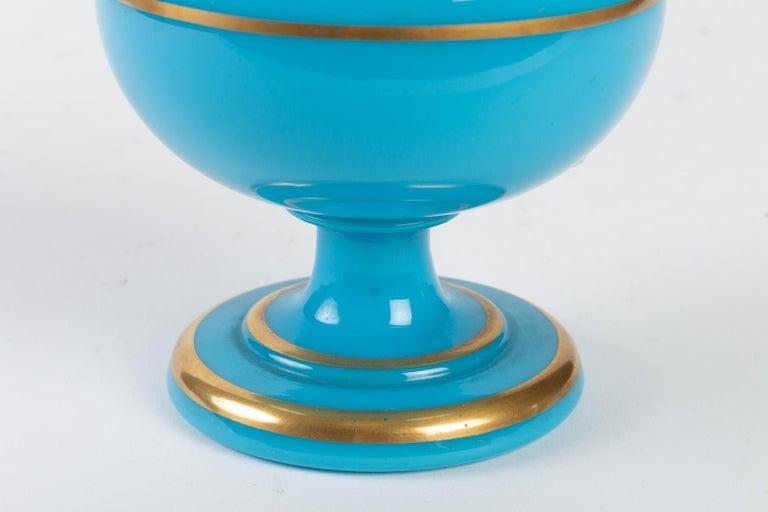 European Perfume Bottle in Turquoise Blue Opaline For Sale