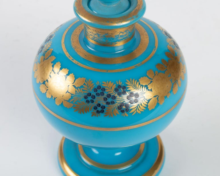 Gilt Perfume Bottle in Turquoise Blue Opaline For Sale