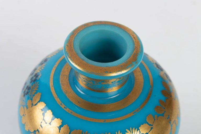 Mid-19th Century Perfume Bottle in Turquoise Blue Opaline For Sale