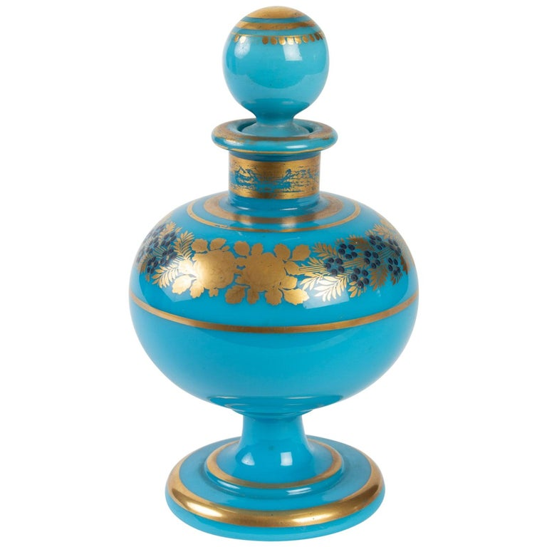 Perfume Bottle in Turquoise Blue Opaline For Sale