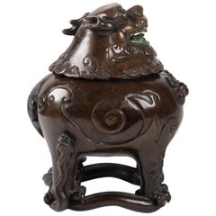 Chinese Bronze Bixie-Form Two-Section Censer
