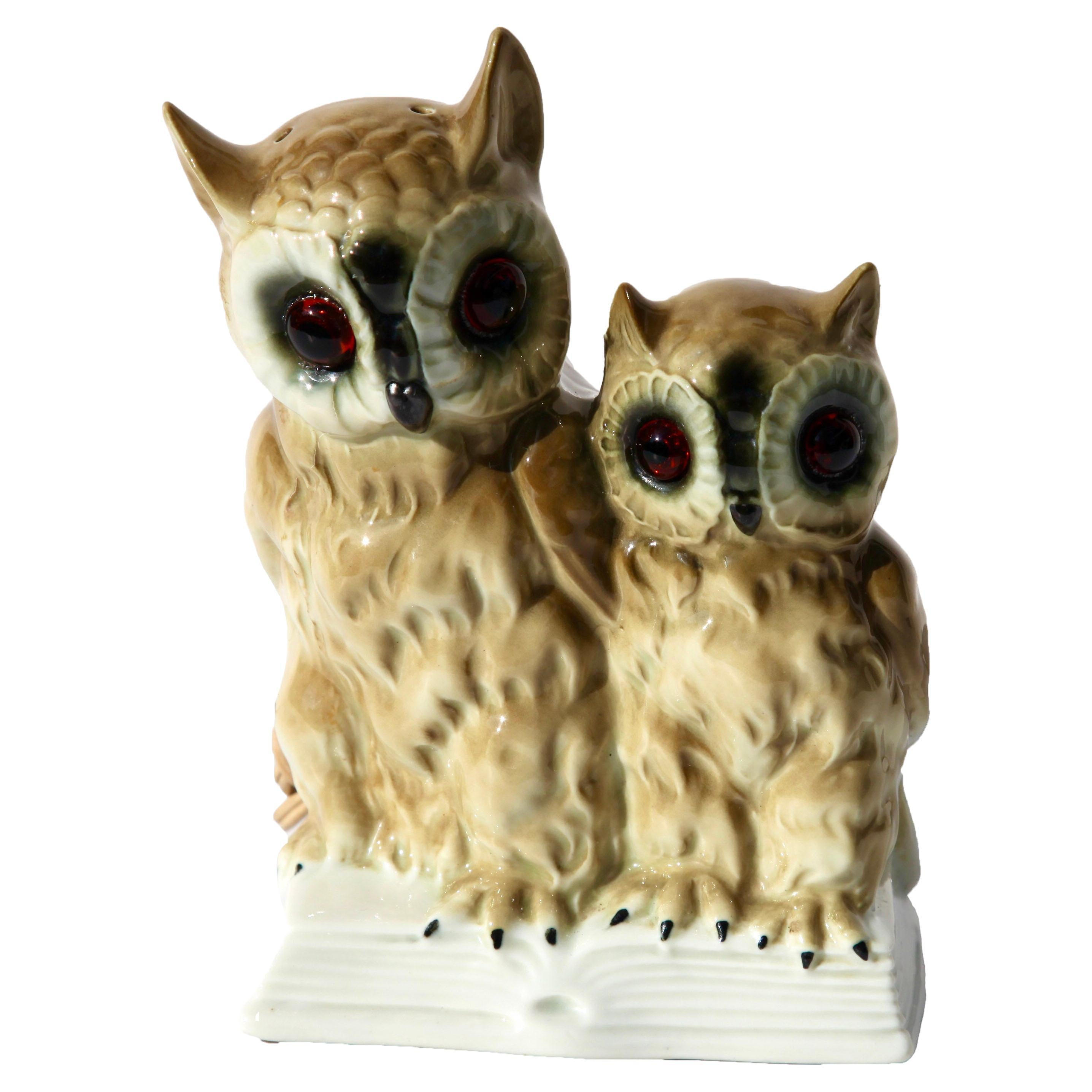 Perfume Lamp Mother Owl and Chick by Carl Scheidig/Gräfenthal, Germany, 1930s