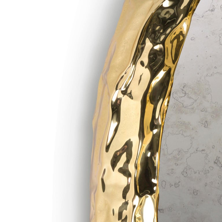 Modern Pergamo Gold Wall Sconce, Hammered Polished Brass and Turned Acrylic In New Condition For Sale In Oporto, PT