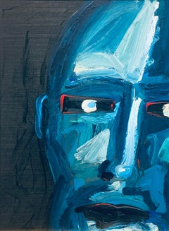 Intense Blue Face, Peri Gutierrez Mixed Media Blue Abstract Male Black