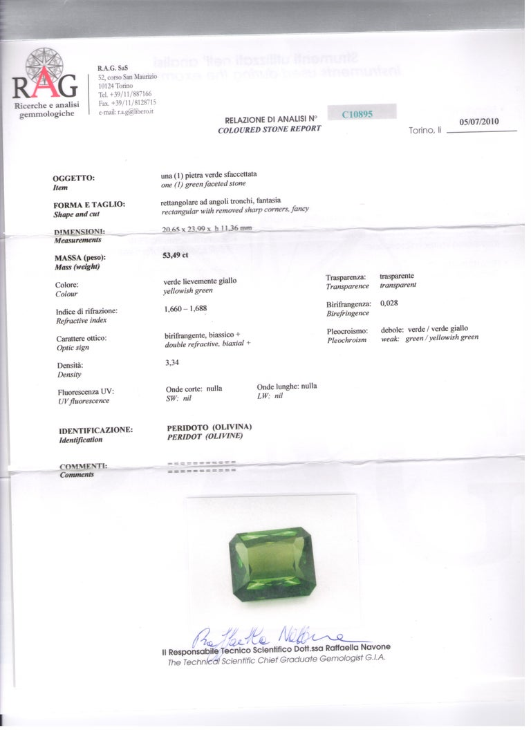 Contemporary Peridot 53.50 Kt Diamonds White Gold Made in Italy Ring For Sale