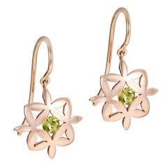 Peridot 9 Karat Rose Gold Yasmin Earrings