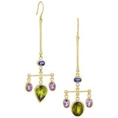 Peridot, Amethyst and Kyanite Chandelier  Gold Earrings