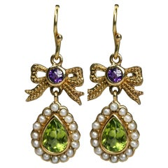 Peridot, Amethyst, and Pearl 18 Karat Yellow Gold Ribbon Bow Earrings