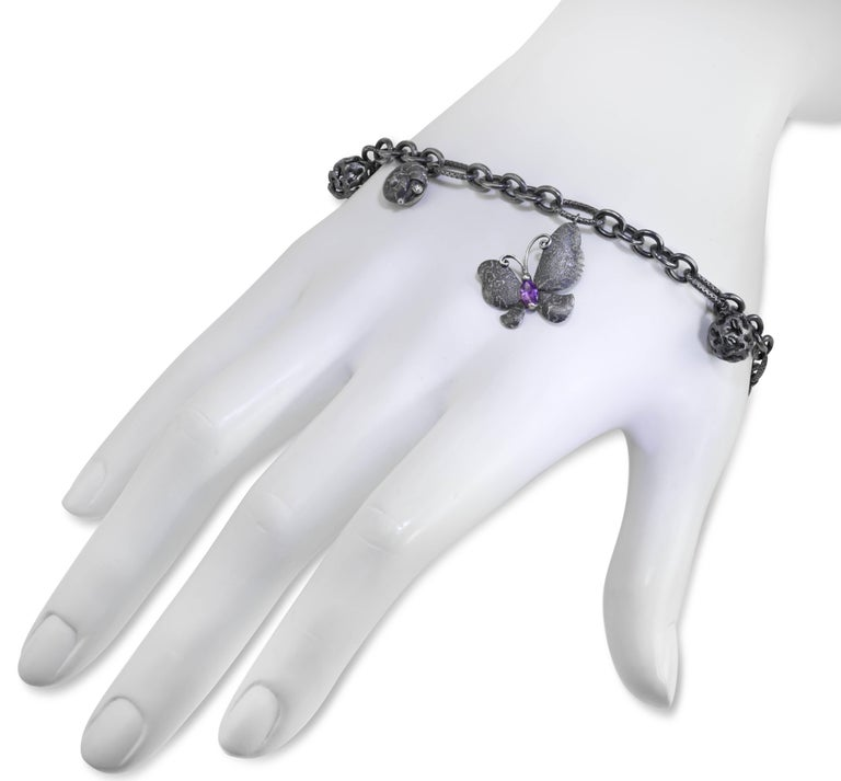 Peridot Amethyst Diamond Sterling Silver Butterfly Snail Charm Bracelet In New Condition For Sale In New York, NY