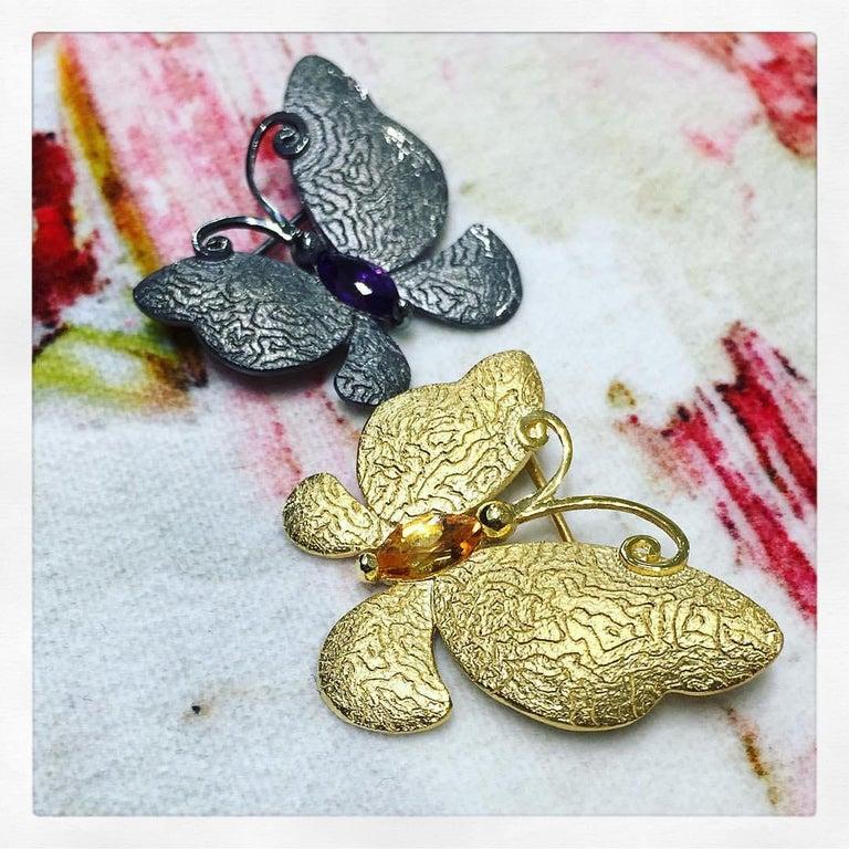 Women's or Men's Peridot Amethyst Diamond Sterling Silver Butterfly Snail Charm Bracelet For Sale