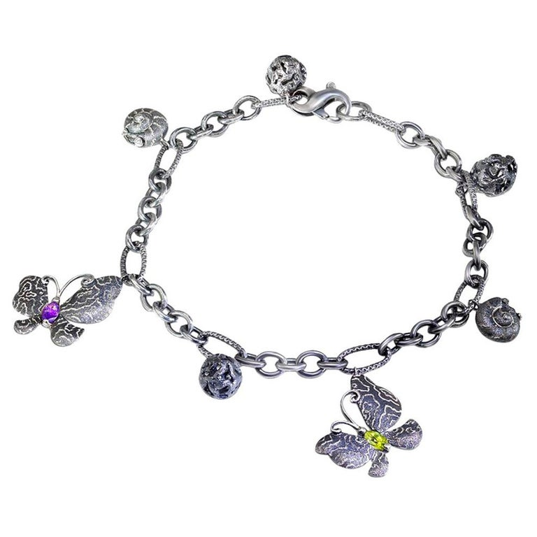 Peridot Amethyst Diamond Sterling Silver Butterfly Snail Charm Bracelet For Sale