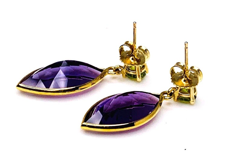 Peridot and Amethyst 18 Karat Yellow Gold Earrings For Sale 2