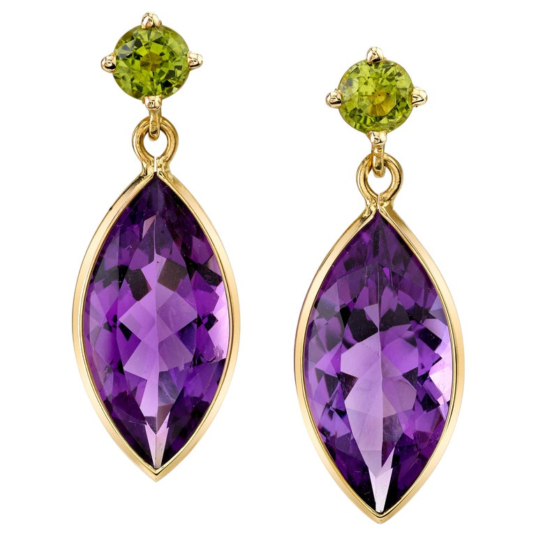 Peridot and Amethyst 18 Karat Yellow Gold Earrings For Sale