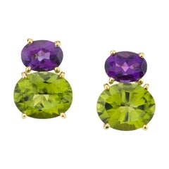 Peridot and Amethyst 18 Karat Yellow Gold Post Earrings