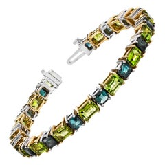 Peridot and Blue-Green Tourmaline, White and Yellow Gold Tennis Bracelet