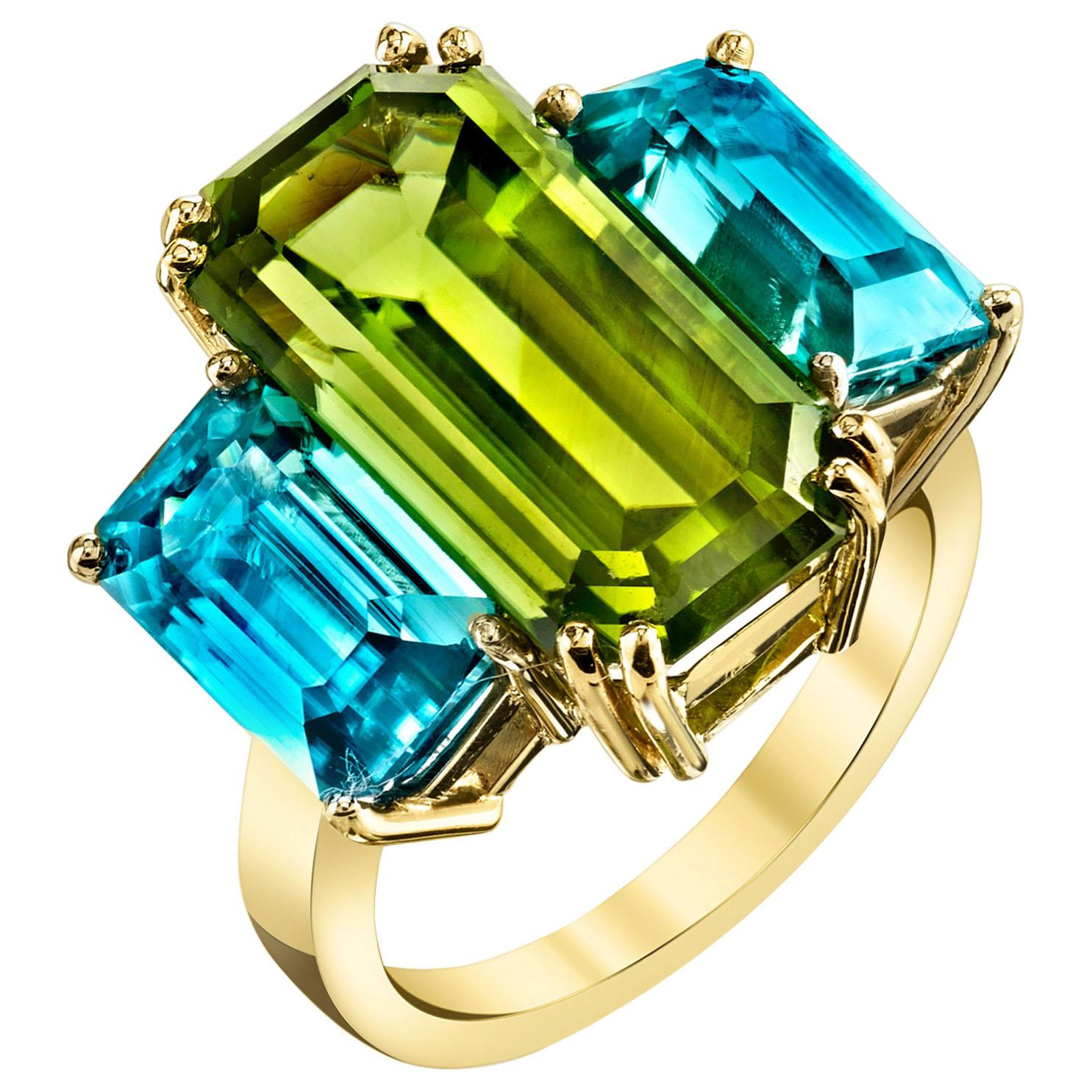 Peridot and Blue Zircon, Yellow and White Gold, Three-Stone Cocktail Ring