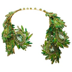 "Peridot and Chrysolite Austrian Crystal ""Ostrich Feather"" Open Collar Necklace"