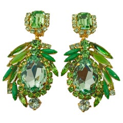 Peridot and Chrysolite Austrian Crystal Pendant Drop Earrings