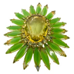 "Peridot and Citrine Austrian Crystal ""Ruffle"" Brooch"