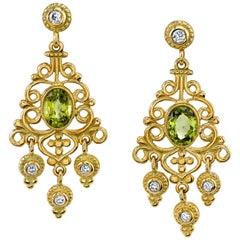Victorian Inspired Peridot, Diamond Yellow Gold Handmade Chandelier Earrings
