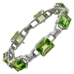 "Peridot and Diamond Bracelet, Signed ""J.E. Caldwell"""