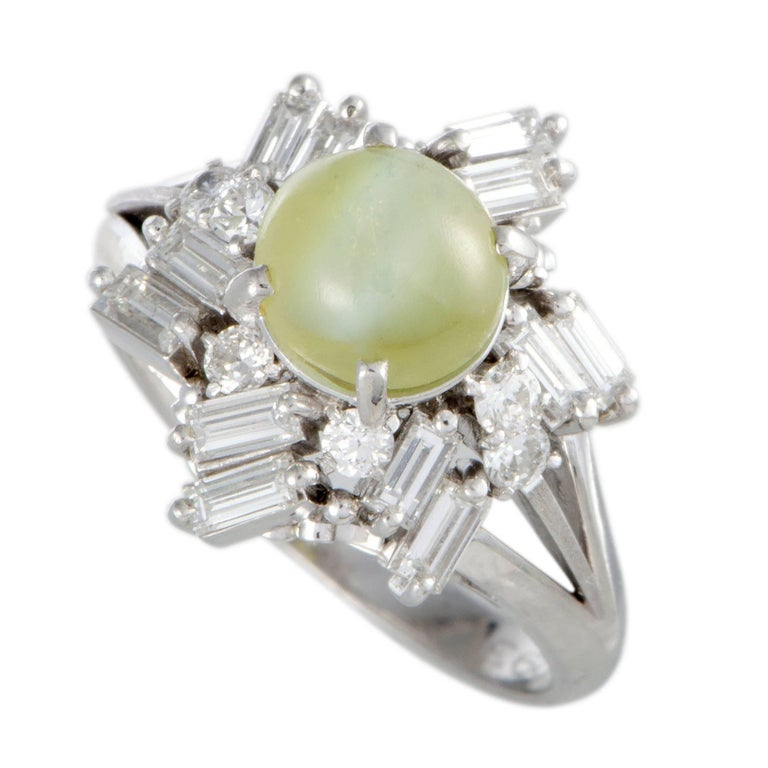 Peridot and Diamond Cocktail Ring For Sale