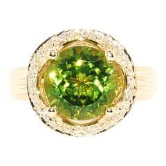 Peridot and Diamond Cocktail Ring in 14 Karat Yellow Gold