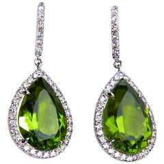 Peridot and Diamond Dangle Earrings