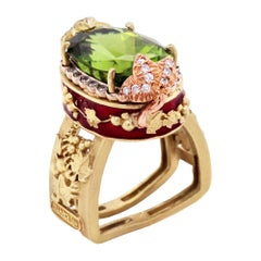 Peridot and Diamond Floral Ring with Red Enamel Rose and Yellow Gold Stambolian