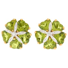 Peridot and Diamond Florette Earrings
