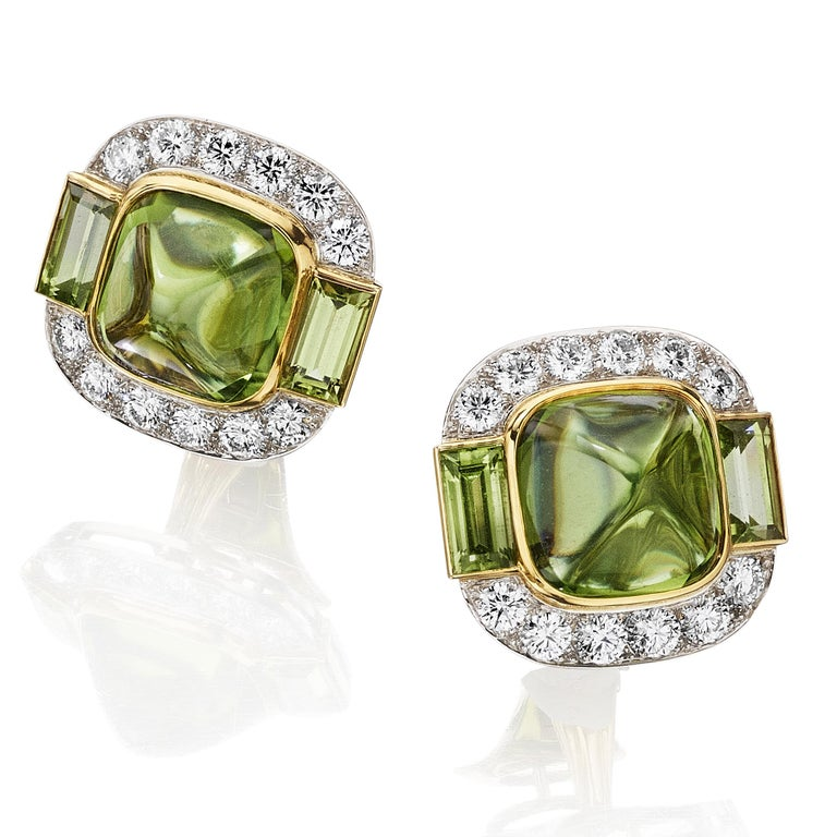 Modern Siegelson Peridot Diamond Platinum Gold Suite of Necklace and Earrings  For Sale