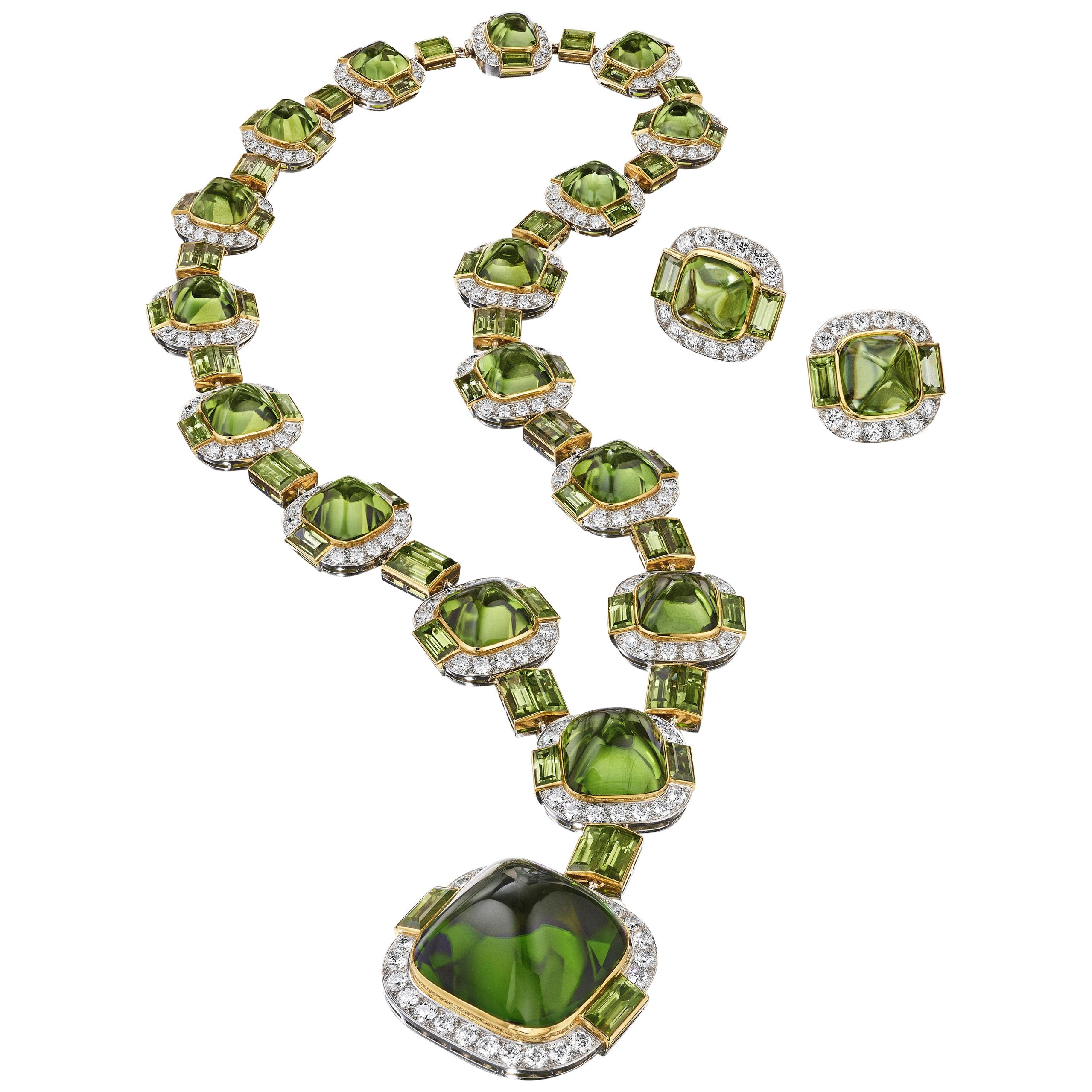 Siegelson Peridot Diamond Platinum Gold Suite of Necklace and Earrings