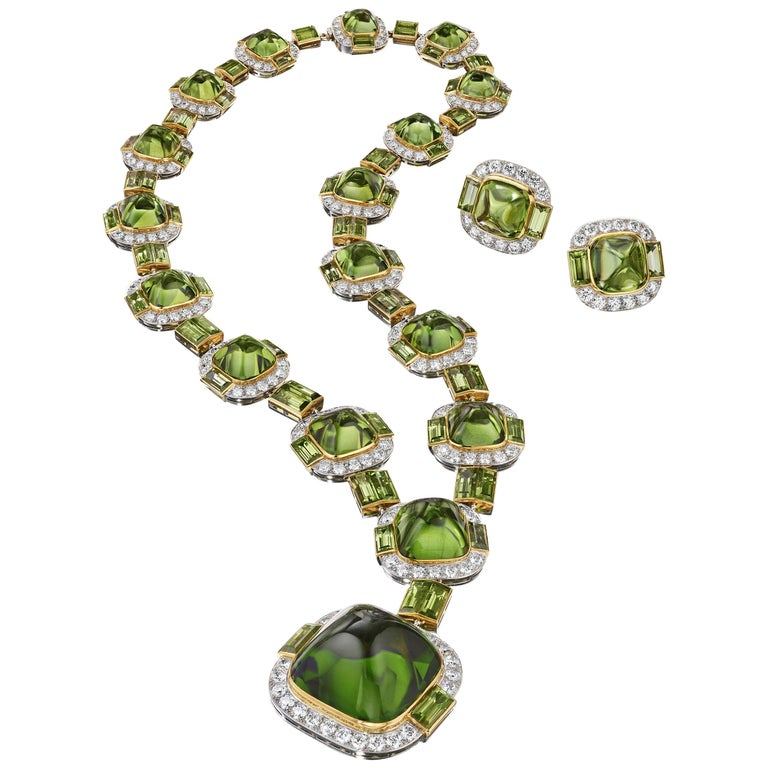 Siegelson Peridot Diamond Platinum Gold Suite of Necklace and Earrings  For Sale