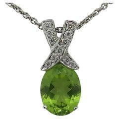 Peridot and Diamond Pendant 18 Karat White Gold